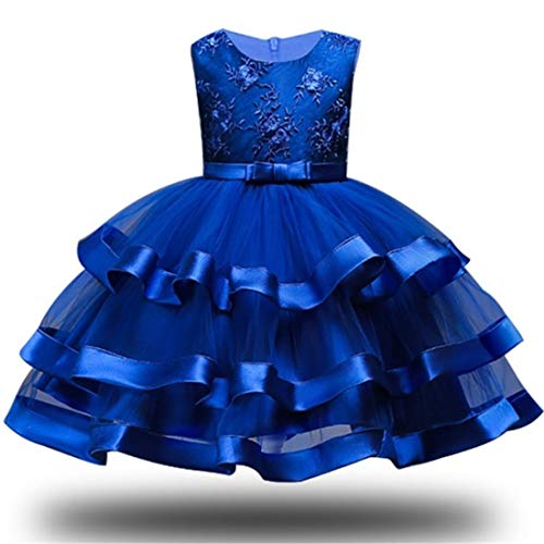 Royal Blue Wedding Halloween Xmas Party Lace Dress 3-5 Years Formal Easter Tutu Dresses Sleeveless Flower Ball Gown Knee Length Size 3 4 Children Bridesmaid Dress (Blue 110) ()