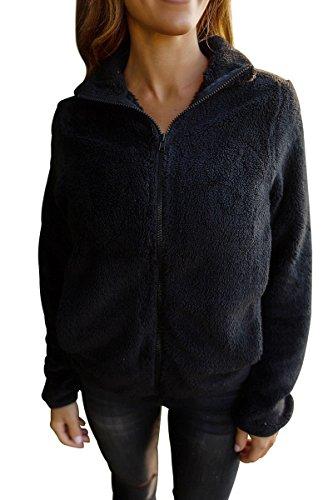 BaronHong Women's Slim Fit Designer Wool Casual alta chaqueta de cuello con cremallera con bolsillos laterales negro