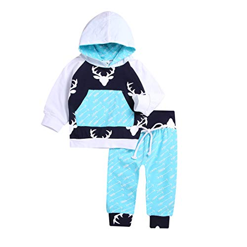 Infant Toddler Baby Boy Deer Long Sleeve Hoodie Tops Sweatsuit Pants Outfit Set for Newborn Boys (Blue, 5T(4-5years))