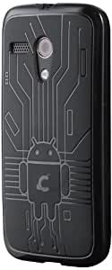 Moto G Case, Cruzerlite Bugdroid Circuit TPU Case Compatible for Motorola Moto G (2013) - Black