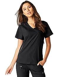KOI Lite Women's Philosophy Mock Wrap Side Zipper Solid Scrub Top Small Black