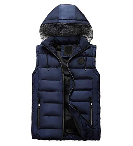 Windbreaker Waistcoat Cotton R Sleeveless Down Warm Mensto Winter Vest Thickening Blue qwzwI8
