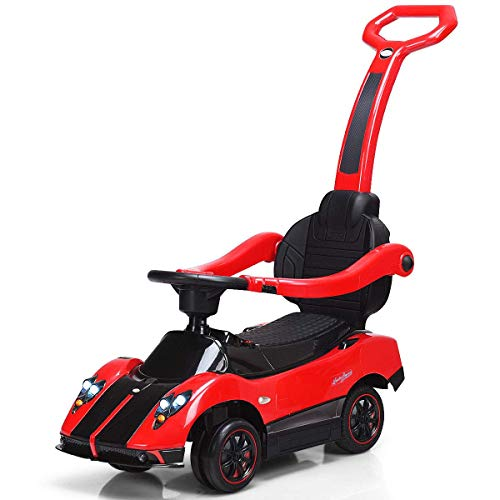 Costzon Ride On Push Car, 3 in 1 Licensed Pagani 6V Electric Battery Powered Toddler Play Toy Car w/ Handle Lights, Music, MP3, Aux Plug in, Push Round Buggy (Red)
