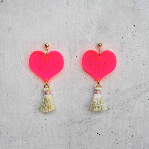 Translucent Neon Pink Heart Dangle Earrings