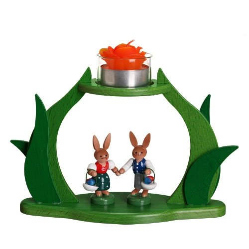 Tea Light Candle Stand with Easter Hare Couple Holding Hands 5 Inch by My German Store