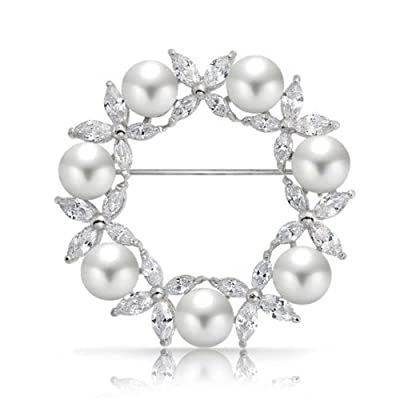 Bling Jewelry White Simulated Pearl Marquise CZ Wreath Brooch Pin Rhodium Plated save more