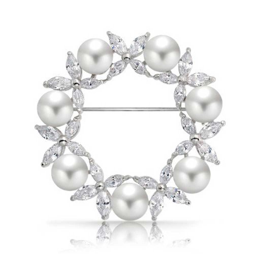Bling Jewelry Bridal Holiday Marquise CZ Cubic Zirconia Round White Simulated Pearl Wreath Circle Scarf Brooch Pin for Women Wedding