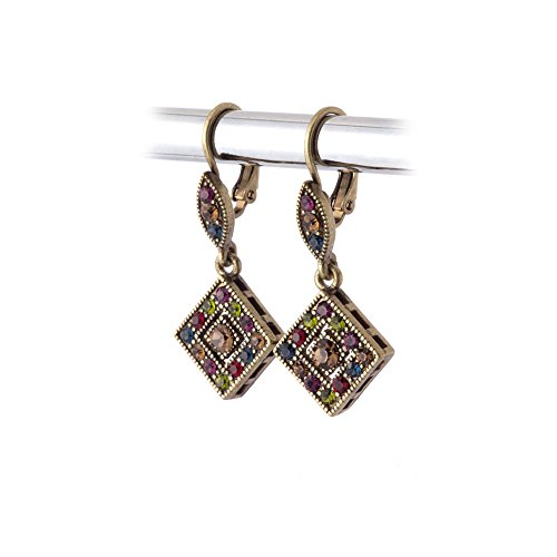 Womens Victorian Swimming Costume (Antiqued Gold Jeweltone Austrian Crystal Leverback Earrings)
