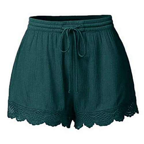 - CCatyam Short Pants for Women, Plus Size Shorts Trousers Yoga Lace Solid Tie Leggings Casual Fashion Green