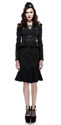 Camisa Negra Esprit Militar para mujer de rayas finas, Peplum uniforme laçage Punk Rave negro