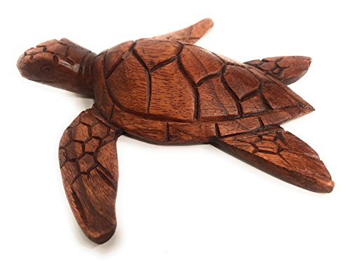 TikiMaster Carved Hawaiian Sea Turtle Honu 8'' Stained - Hand Carved | #raw0420 by TikiMaster