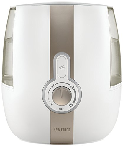 HoMedics Cool Mist Ultrasonic Humidifier - 1.4 Gallon, Runs up to 65 hours, On/Off Night Light, Auto shut-off, Demineralization Cartridge Included, UHE-CM65