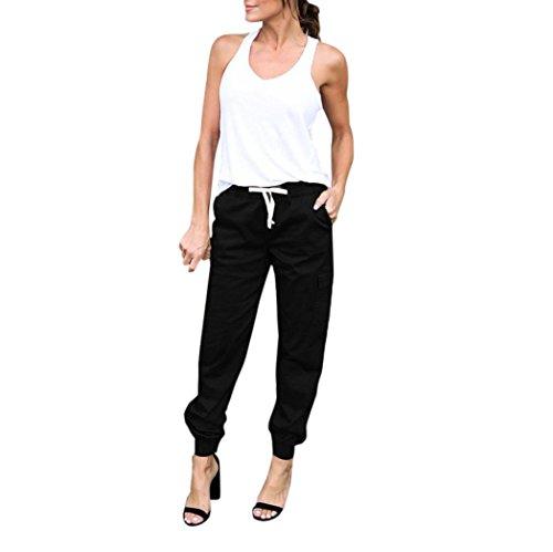 Alixyz Women's Casual Loose Pants Summer Elastic Waist Ankle Length Cargo Trousers Outdoor Pants (L, Black)