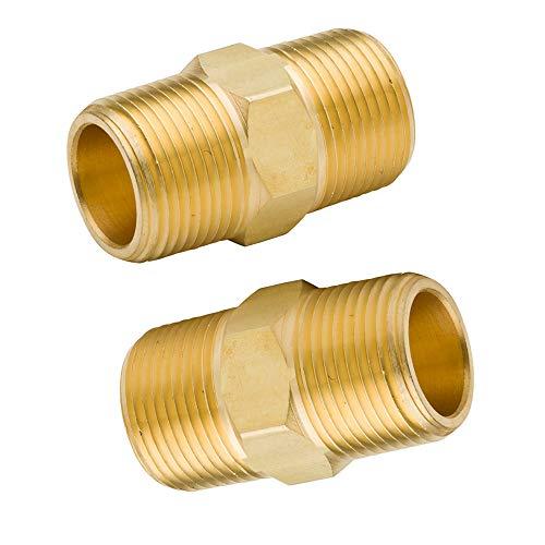 Legines Brass Fitting, Hex Equal Nipple, 1