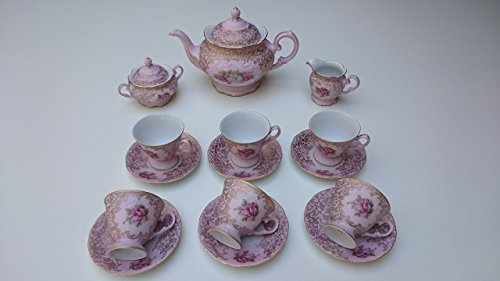 Tea set Made in Italy pink color with rose 24 k gold