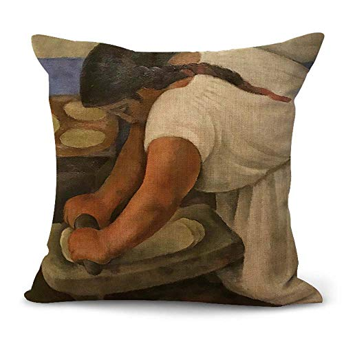 WholesaleSarong Diego Rivera Woman Grinding Maze Cushion Cover Couch Pillow Covers Mexican Painter Artist Artwork Mexico Latino Art