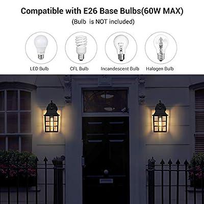 DEWENWILS Dusk to Dawn Outdoor Lighting, Exterior Wall Sconce with Photocell Sensor, E26 Socket, Anti-Rust & Waterproof, Black Wall Light Fixture for Porch, Garage, Doorway