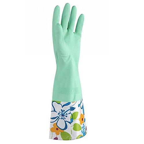 Anti-Rutsch-Handschuhe, einlagig, breite Öffnung, Gummi-Handschuhe, Grün