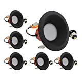 ESD Tech 6 Pack of 4'' Inch LED Dimmable Recessed Downlight Trim, Black Round Baffle Retrofit, 5000K, 650 Lm, 9W, 120V, Energy Star, ETL Listed, Indoor/Outdoor Rated