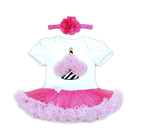 [Rush Dance Infant Baby Girl 1st First Birthday Celebration Tutu Romper Dress Set (Romper & Headband, Cupcake] (Disneyland Peter Pan Costume)