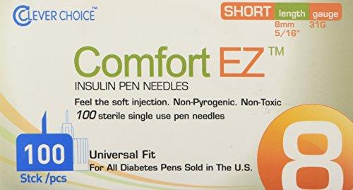 Clever Choice Comfortez Insulin Pen Needles 31g 8mm 100/bx, 100 Count