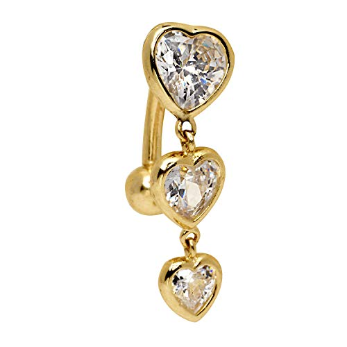 JewelryWeb Solid 14k Yellow White Gold Graduated Heart Cubic Zirconia Top Mount Belly Button Ring Dangle (7mm x 24mm) (Yellow-Gold)