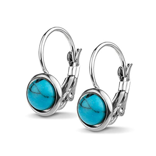 555Jewelry Womens Stainless Steel Stone Marble Round Circle Vintage Genuine Delicate Cut Classic Leverback Findings Finish Fashion Accessories Jewelry Earring, Silver & Turquoise
