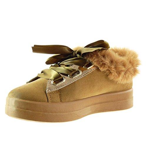 5 Spitze Damenmode flache Satin Ferse CM Trainer 3 Pelz Schuhe Camel Angkorly Hf6Zwq4z