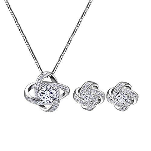 (AMYJANE Bridal Jewelry Set for Women - Silver Crystal Cubic Zirconia Love Knot Necklace Stud Earrings Elegant CZ Jewelry Set for Wedding Bride Bridesmaids Set)