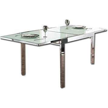 Table extensible en acier chrome\' et verre trempe\': Amazon.fr ...