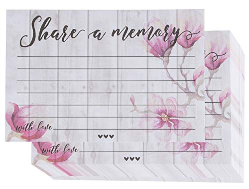 Message Memory - Share a Memory Card - 100-Pack Single-Sided Flat Card for Funeral, Memorial Service, Celebration of Life Events, Pink Floral Design, 4 x 6 Inches