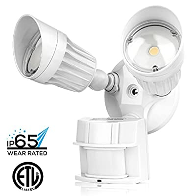 Hyperikon LED Security Light, 20W (100W Equivalent), 1800lm, 5000K (Crystal White Glow), Waterproof IP65 & UL, 40° Beam Angle, CRI 80+, Adjustable Head, 120v, Infrared Sensor Activated