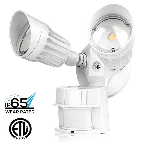 Hyperikon LED Security Light, 20W (100W Equivalent), 1800lm, 5000K (Crystal White Glow), Waterproof IP65 & UL, 40° Beam Angle, CRI 80+, Adjustable Head, 120v, Infrared Sensor Activated (Heads Angle Plug)
