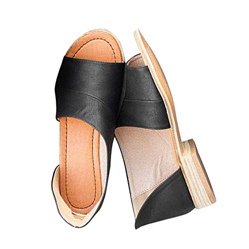 Designer Ladies Sandals - SNIDEL Womens Faux Leather Sandal Open Toe Flats Sip on Summer Casual Low Heels Shoes Black1 7.5 B (M) US