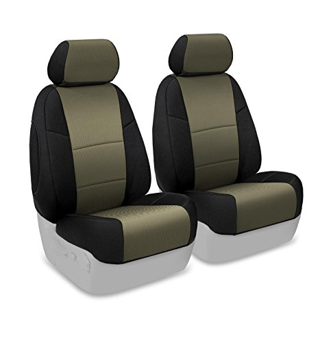 Coverking Custom Fit Front 50/50 Bucket Seat Cover for Select Honda CR-V Models – Spacermesh 2-Tone (Taupe with Black Sides)