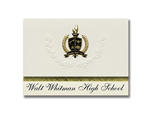 Signature Announcements Walt Whitman High School (Huntington Station, NY) Graduation Announcements, 25 Pack with Gold & Black Metallic Foil seal, 6.25