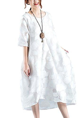 略奪無臭月面Veamor 綿麻 レディース チュニック ワンピース 体型カバー ゆったり 高品質刺繍 レース 花柄 白いワンピース ホワイト 可愛い 妊娠服 大きいサイズ