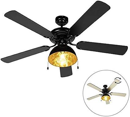 QAZQA Ventilador de techo industrial negro - Magna Madera/Acero Redonda Adecuado para LED Max. 1 x 60 Watt