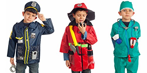 Set of 3 RESCUE Costumes Fireman Police & Doctor with Hats & over 15 (Dress Up Costumes For Kids)