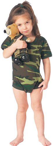 (Woodland Camouflage One Piece Infant Bodysuit Size 3-6)