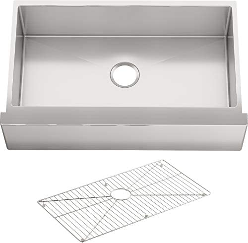 KOHLER K-5415-NA Strive Self-Trimming Farmhouse Undermount Large Single-Bowl Kitchen Sink with Tall Apron, 35 1 2 x 21 1 4 , Stainless Steel