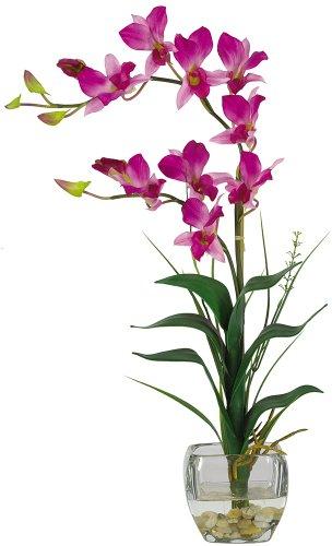 Nearly Natural 1135-PP Dendrobium with Glass Vase Silk Flower Arrangement, Purple Dendrobium Silk Orchid Arrangement