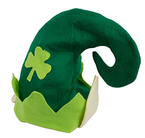 Festive Felt St. Patrick's Day Leprechaun Elf Party Hat, Green/Beige, One Size, 13