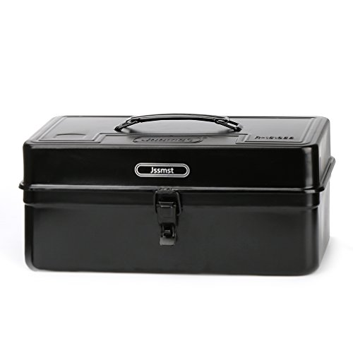 Jssmst 14Inch Portable Tool Box Medium, Multi-Purpose Durable Metal Toolbox Black, JS-TB 14
