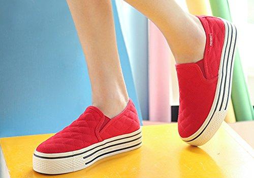 Aisun Frauen Beleg auf Plattform Loafers Canvas Schuhe Turnschuhe rot