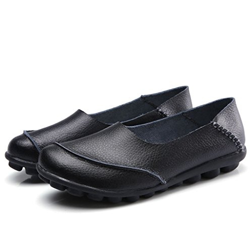 219 black Leather Loafers Driving Casual Labato Moccasin Driving Shoes Flat Cowhide Women's OCwRvq1