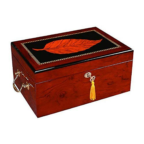 Quality Importers Trading Deauville 100 Cigar Humidor, High Gloss with Tobacco Leaf Inlay, Maple Finish, Holds 100-150 Cigars