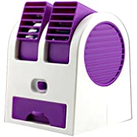 AMA(TM) Portable Dual Mini USB Battery Fan Car Vehicle Fan Air Conditioner Cooler (Purple)