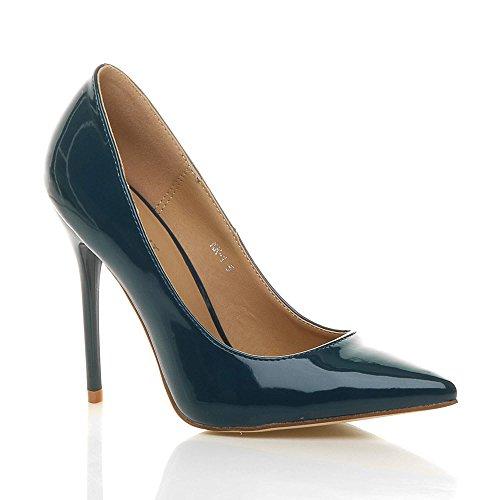 Verni élégante Vert Femmes chaussures fête taille Ajvani escarpins pointue de talon travail Bleutre haut Hq4IP