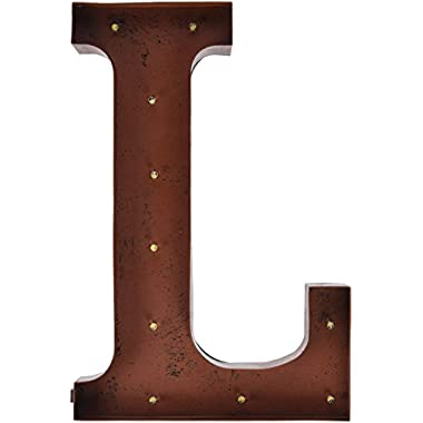 The Gerson Company  L  LED Lighted Metal Letter with Rustic Brown Metal Finish And Timer Function